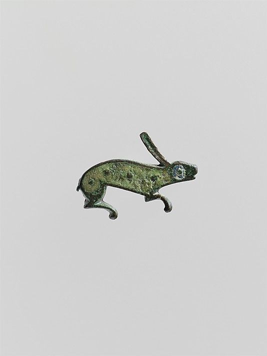 Roman Brooch in the Form of a Rabbit; Copper alloy with champlevé enamel; c. 100 - 300 AD