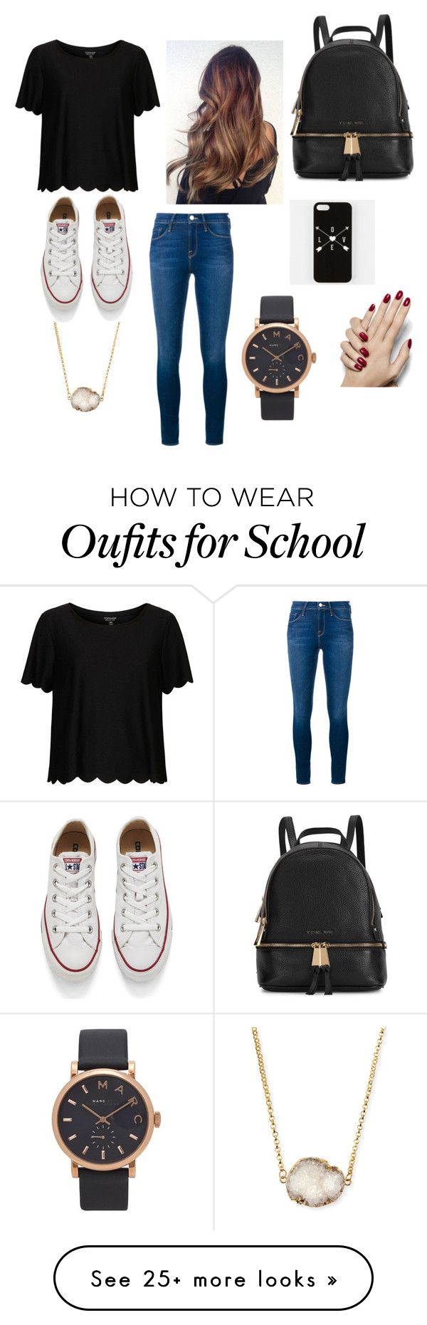 """School day"" by karissaibrahim14 on Polyvore featuring Mode, Frame Denim, Topshop, Converse, Michael Kors, Jules Smith, Marc by Marc Jacobs, women's clothing, women und female"