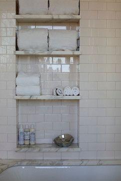 subway tile and carara bathroom built-in wall nook, storage, small bathroom