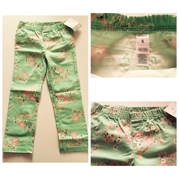 Carter's mint green pants for girls-size 5 👸🆕 Brand new mint green with floral print pants for little girls. It's a size 5 from Carter's. Will ship as soon as possible! 👸❤️ Carter's Bottoms Casual