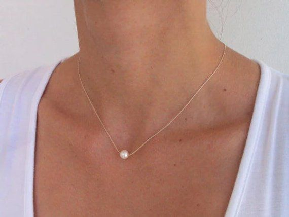 Bridal Gift Single Pearl Sterling Silver Dainty Necklace Wedding Jewelry. Bridesmaid Necklace