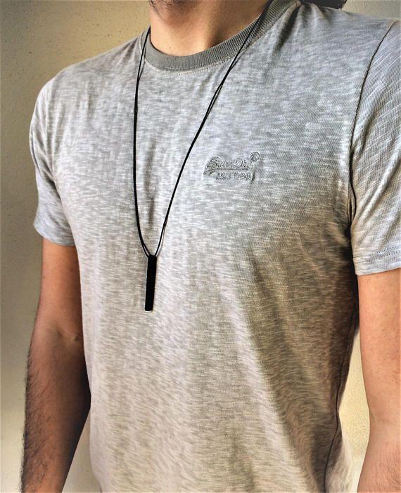 Mens vertical bar pendantblack metal bar necklaceadjustable