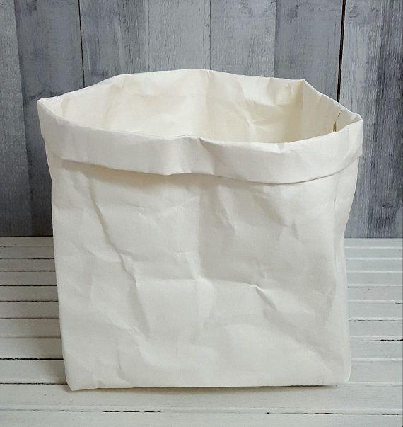 WATERPROOF PAPER HAMPER Laundry Bag Storage Organizer Box Kids Toys Container Medium Pot Planter Handmade Fabric Gift Birthday Christmas