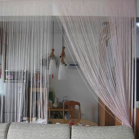 Braid line rope twine room divider partition curtain for Curtain partition living room