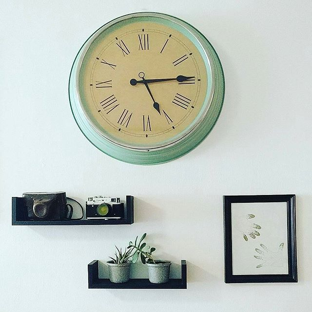 The 25 best ikea clock ideas on pinterest wall clock hanging shelvs at my livingroom the notorious ikea clock some shelves and a picture frame from the dollar store and some diy art of my kids hands gumiabroncs Gallery