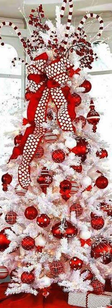 So festive. Jolly red and white Christmas Tree.