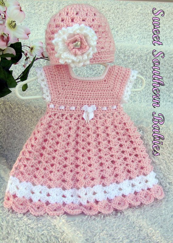 Baby Girl's Pink Dress with Matching Hat ♥ by SweetSouthernBabies