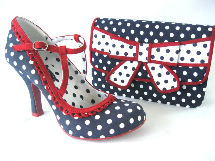 Ruby Shoo polka dot rockabilly shoes and clutch bow bag