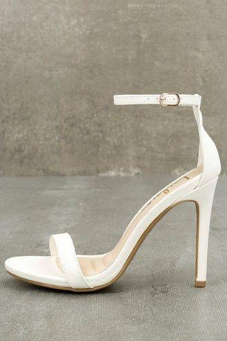 8f88c71d1e7 Loveliness White Ankle Strap Heels afflink