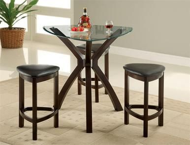 "Checkout the 36"" Avanti Glass Triangle Counter Height Table Set including all glass counter height table sets"