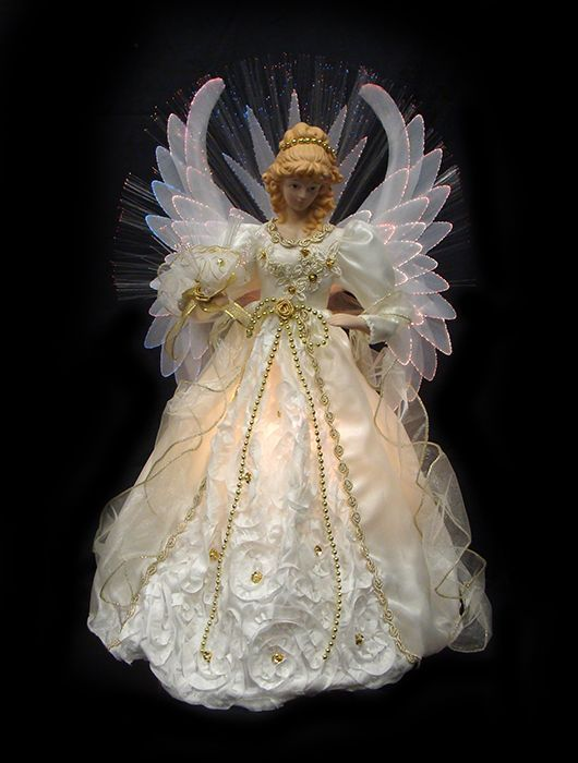 VCO Lighted Cream And Gold Fiber Optic Angel Christmas Tree Topper Lighted  Christmas Tree Toppers
