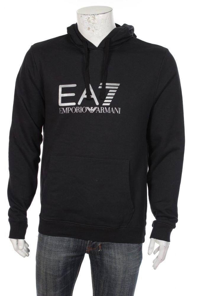 c2807283c26 Emporio Armani EA7 Men s Big Logo Pullover Hooded Sweatshirt Hoodie Hoody