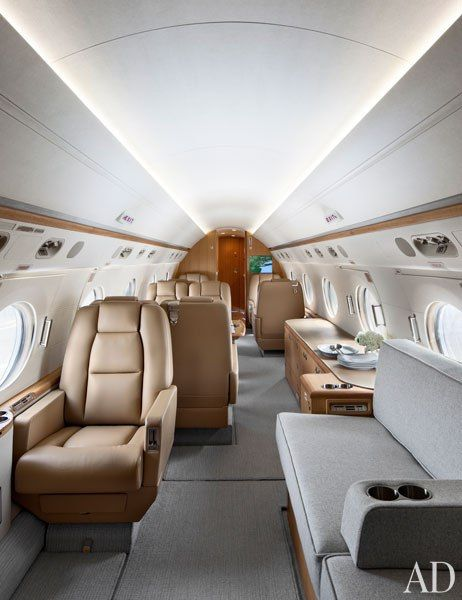 Gulfstream jet interior Architectural Digest
