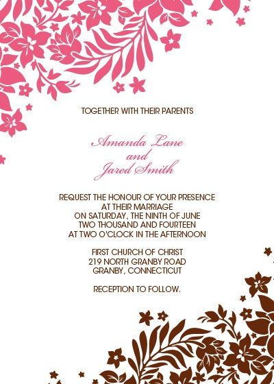Free Download Pink and Brown Foliage Wedding Invitation  http://www.freetemplateideas.com/67-lovely-free-printable-wedding-invitations/