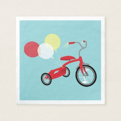 Red Tricycle Graphic Paper Napkin - kitchen gifts diy ideas decor special unique individual customized