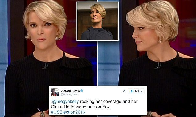 Fox news presenter Megyn Kelly, 45, is wearing her cropped blonde hair in soft waves, prompting some fans to draw comparisons with House Of Cards character Claire Underwood.