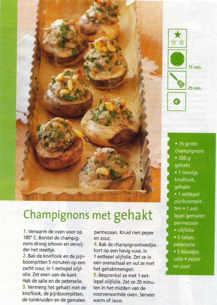 Hapje: champignons met gehakt