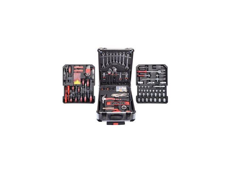 Praktický hliníkový kufr, 186 dílů kvalitního nářadí, vše uspořádané v přehledných pozicích - 4 nástrojová plata.