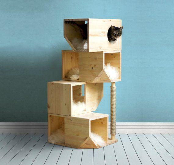 Freestanding Wooden Modular Cat House Modern Cat Furniture Cat