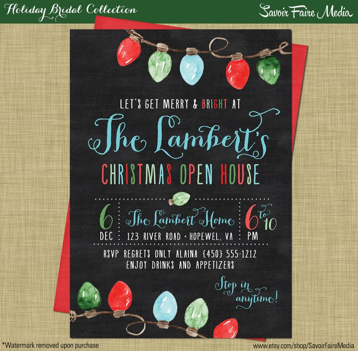 Christmas Open House // Holiday Open House Party // Holiday Party Invitation // Green Red Chalkboard // Winter Chalkboard Modern Invitation by sfmprintables on Etsy https://www.etsy.com/listing/210222832/christmas-open-house-holiday-open-house