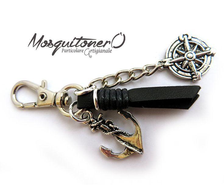 Portachiavi da uomo in stile nautico con Ancora e Rosa dei Venti, by Mosquitonero Shop, 8,90 € su misshobby.com