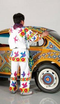 """Vochol: Huichol Art On Wheels"" Huichol beaded Volkswagen."