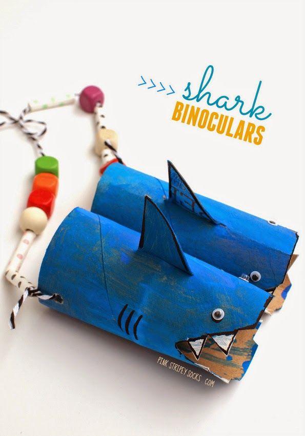 Shark Binoculars- Transform toilet paper rolls and cereal box bits into cute shark-themed binoculars!