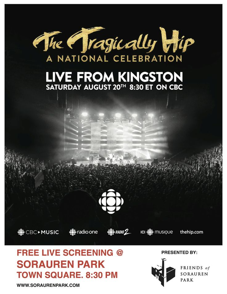 SATURDAY: Join Monte at the Town Square in Sorauren Park for the live stream of The Hip's last concert. This is a bittersweet, yet joyful moment in Canadian history - come and be a part of it!  Bring dancing shoes, friends, family, your love and some beverages for an unforgettable experience: https://soraurenpark.wordpress.com/2016/07/22/watch-the-tragically-hip-aug-20-on-sorauren-outdoor-screen/