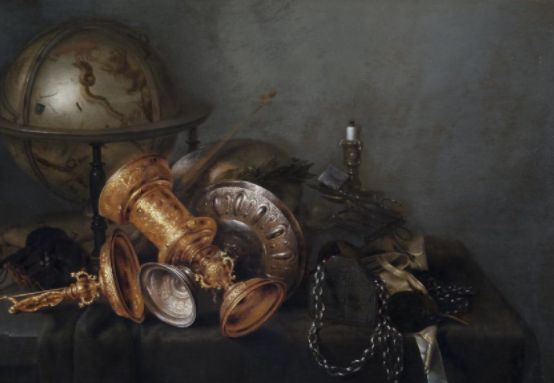 Willem Claesz Heda (Dutch, 1594-1680). Vanitas, with globe, skull, candle, tazza, and covered cup, 1633-1635. The University of Michigan Museum of Art, Michigan. Museum Purchase, 1965. http://www.umma.umich.edu