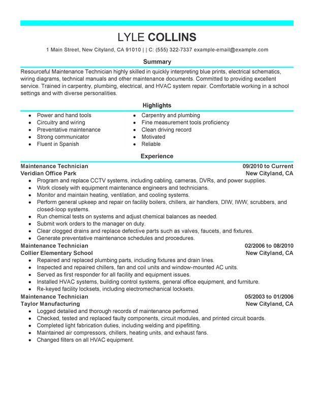maintenance technician resume example myperfectresume