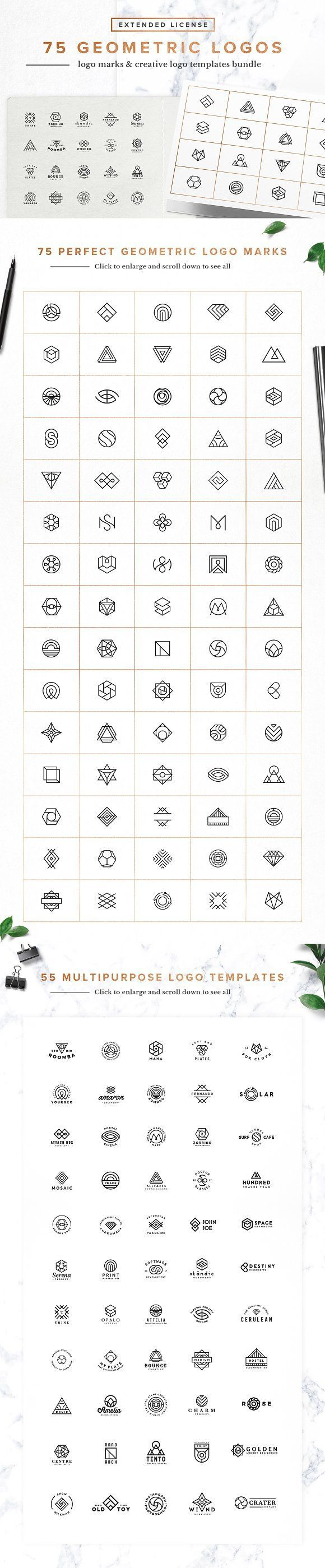 75 Geometric Logo Bundle by Spensers Family on @creativemarket