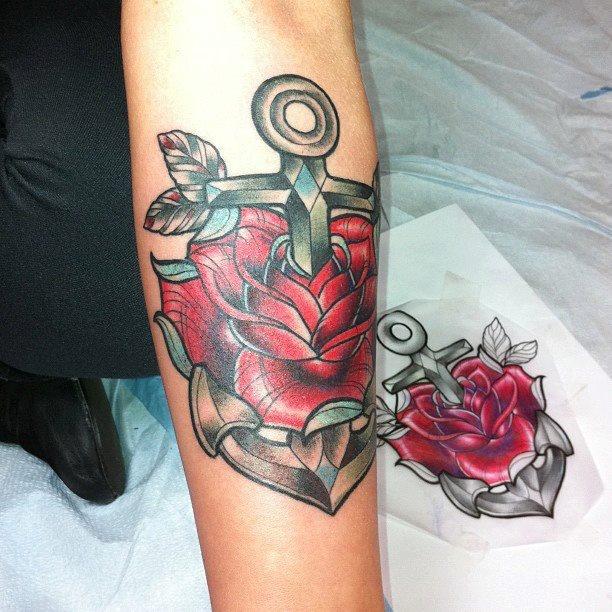 Red Rose Anchor Tattoo Tattoo Pinterest Tattoos Anchor