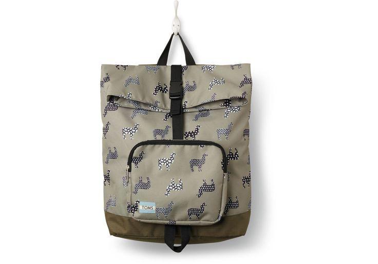 Grey Llama Printed StandUp Backpack | TOMS
