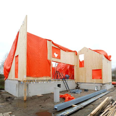 cross laminated timber panels covered in EPDM (rubber roofing material)