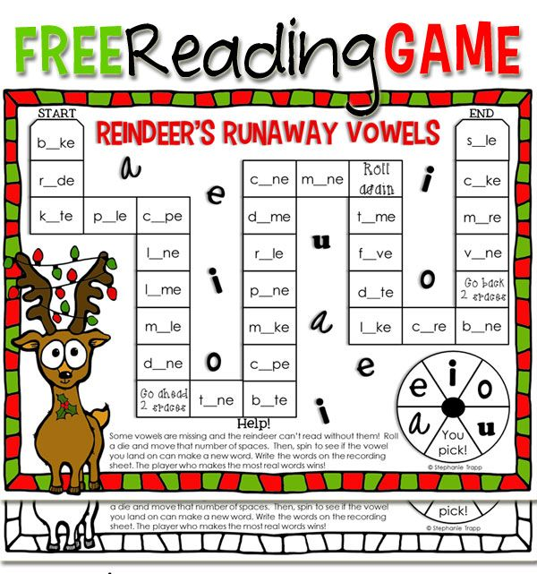 "Christmas Reading Activity: ""Reindeer's Runaway Vowels"" Free Printable ..."