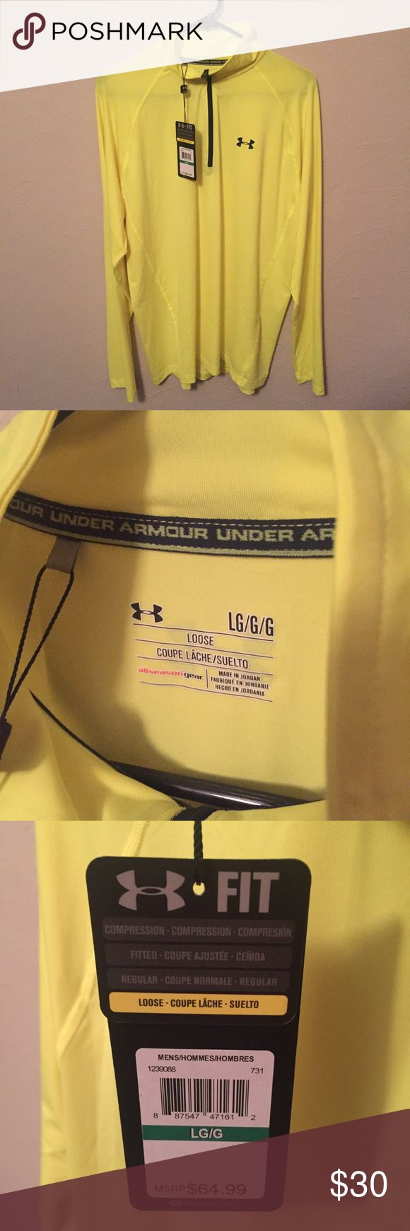 Under Armour 1/4 Zip Golf Shirt NWT - Men's Large Under Armour 1/4 Zip Golf Shirt (Loose) - Men's Large - Brand New with Tags  The color is a fluorescent shade of yellow.   This item comes from a smoke-free, pet-friendly home. Under Armour Shirts Sweatshirts & Hoodies