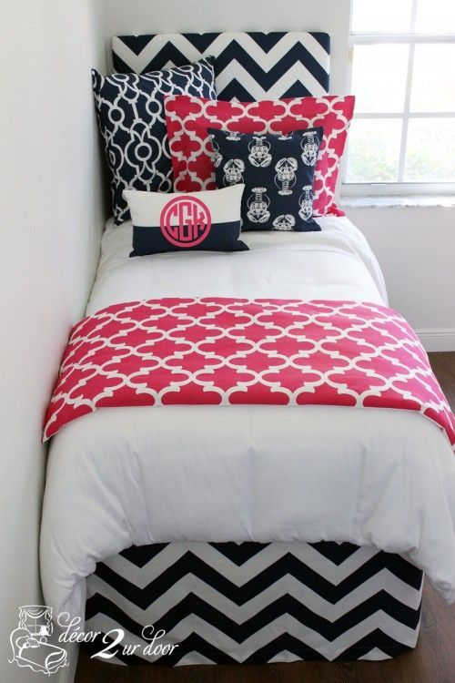 Nautical, preppy and everything nice. The classic (and timeless) navy and hot pink is back at it again and better than ever! Navy chevron and lobster fabrics combine with bold pink prints to create a prep-tastic bedding set. The nautical inspiration never ends. Prep on, girls!