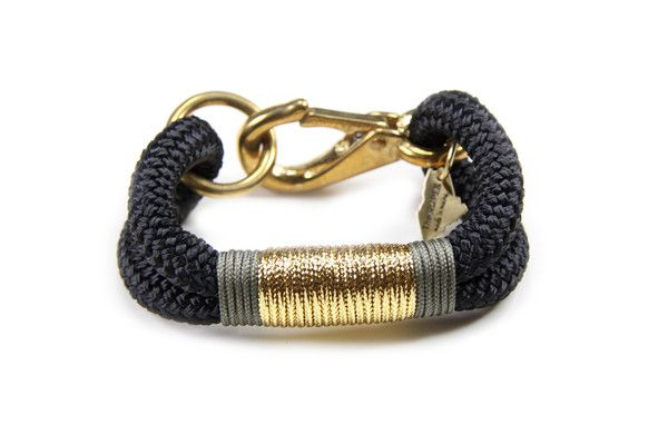 The Ropes Maine Kennebunkport Bracelet - Black, Gold & Khaki