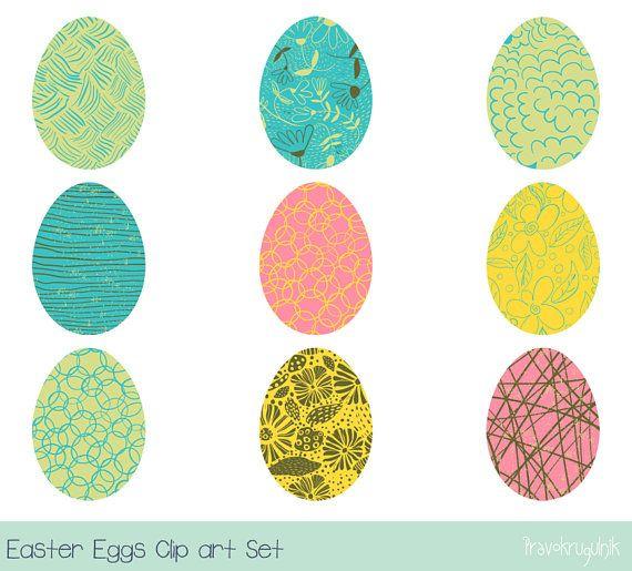 Easter Egg Clipart Set Pastel Digital Hunt