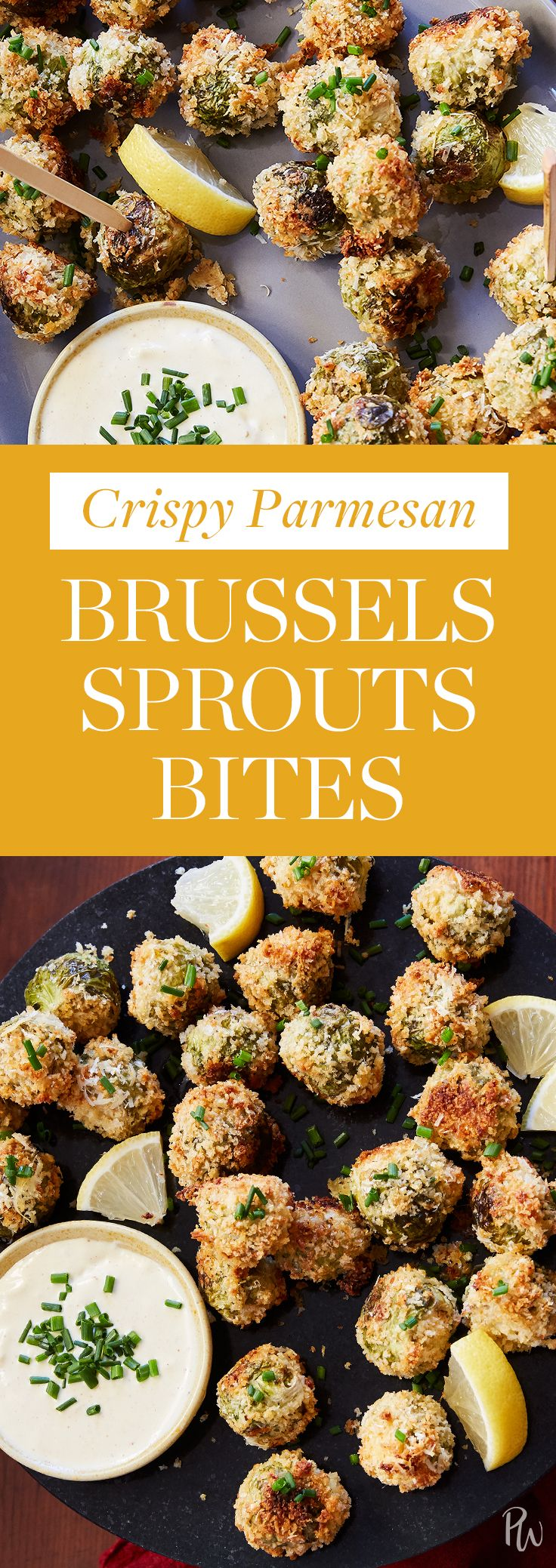 Crispy Parmesan Brussels Sprout Bites #purewow #holiday #recipe #vegetable #appetizer #christmas #food #vegetarian #cooking #party