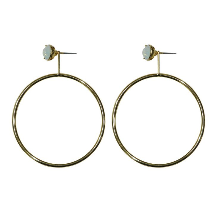 GOLD HOOPS WITH CRYSTAL