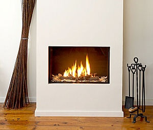 gas fireplace - I'd put builtins either side?