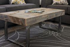 Reclaimed Wood Coffee Table, Tube Steel Legs