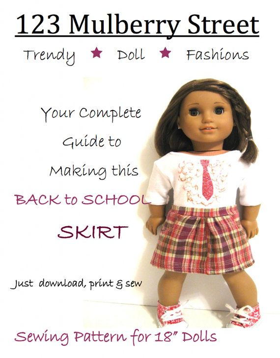 123 Mulberry St Back to School Skirt Doll Clothes by LibertyJane, $3.99
