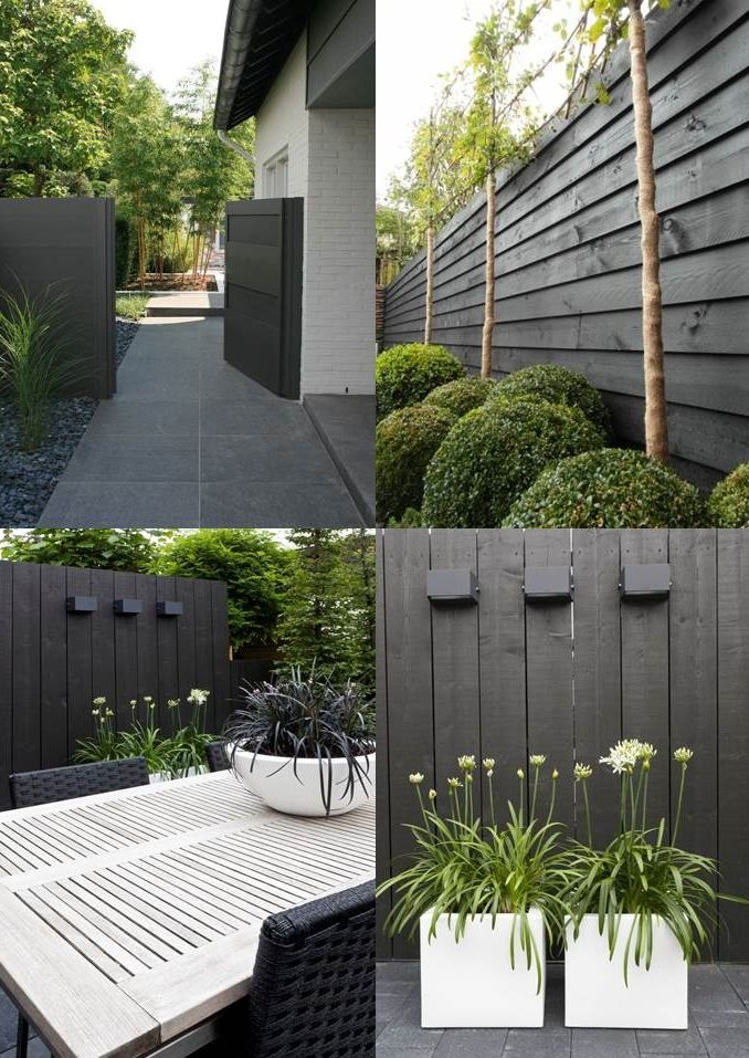 Wood Be Loved this Dark Charcoal fencing around the garden and yard, beautiful organic design and structural planting for this small garden - found at leemconcepts nl