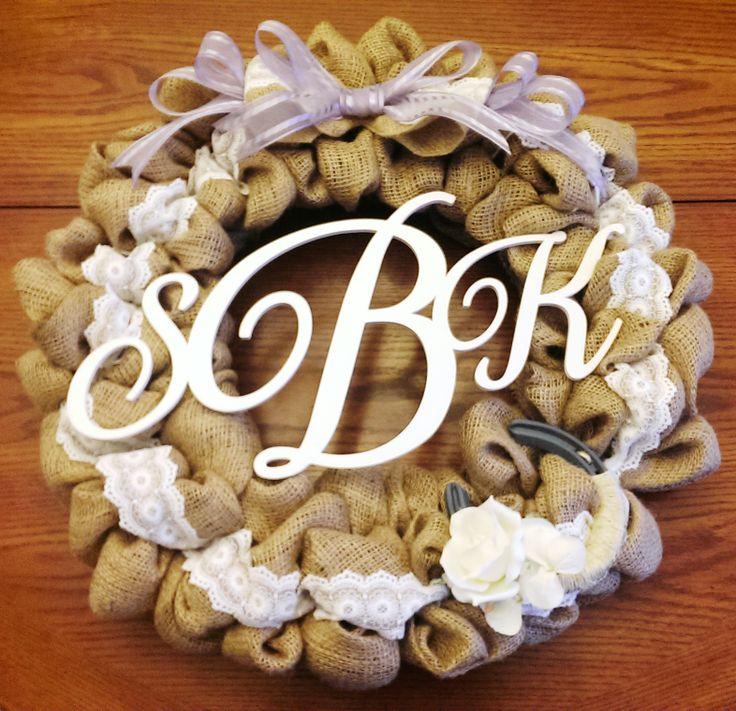 Monogrammed Burlap and Lace Wreath, lilac bow, and horseshoe