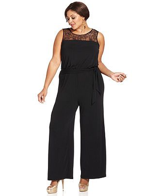 Spense Plus Size Jumpsuit, Sleeveless Lace Belted