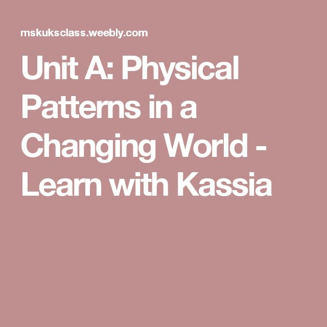 Unit A: Physical Patterns in a Changing World - Learn with Kassia
