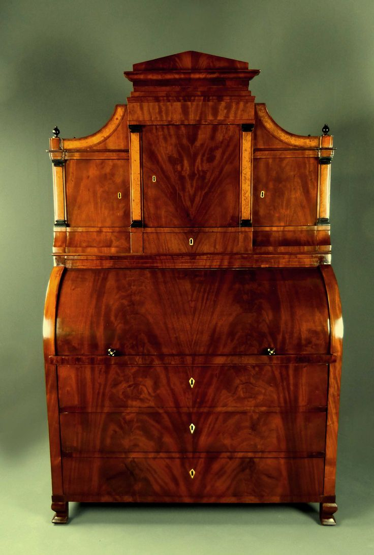 Important Cylinder Bureau Palm Secretaire Mahogany Biedermeier The First  Time. Hometown: Was The Property