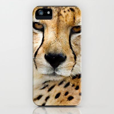 Cheetah Face iPhone & iPod Case by LinnB also available as art print